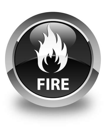 ominous: Fire glossy black round button