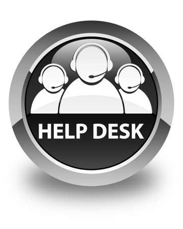 customer support: Help desk (customer care team icon) glossy black round button Stock Photo