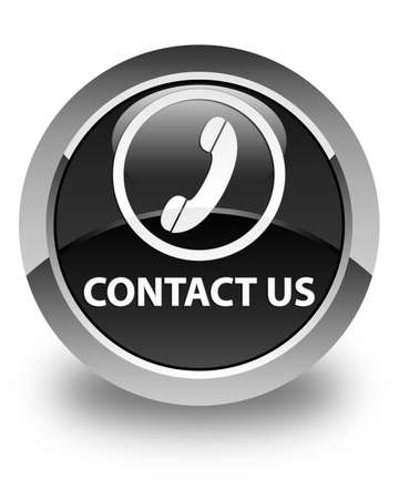 button glossy: Contact us (phone icon round border) glossy black round button