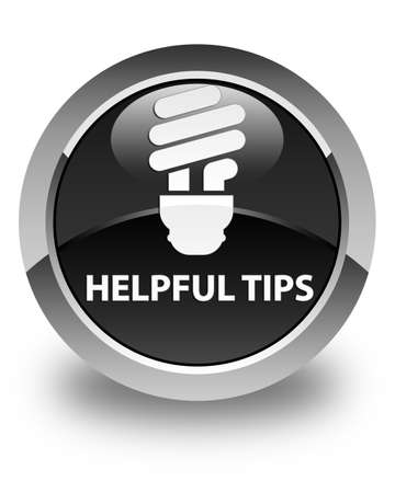 helpful: Helpful tips (bulb icon) glossy black round button Stock Photo