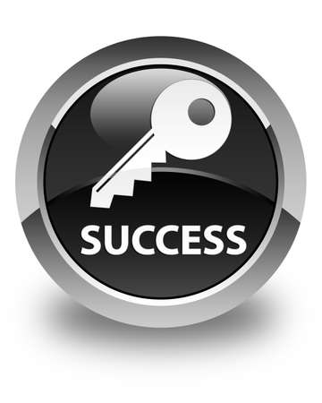 success key: Success (key icon) glossy black round button