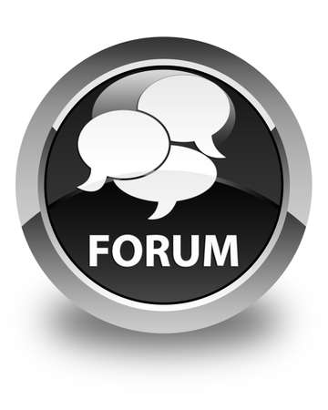 comments: Forum (comments icon) glossy black round button