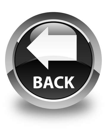 round back: Back glossy black round button Stock Photo