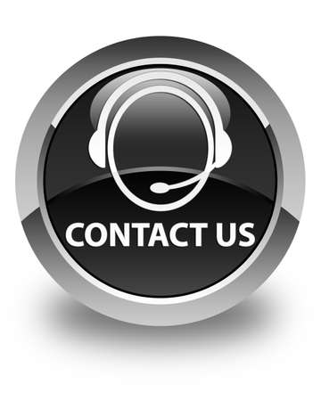 consultants: Contact us (customer care icon) glossy black round button Stock Photo