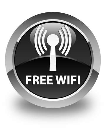 wlan: Free wifi (wlan network) glossy black round button Stock Photo