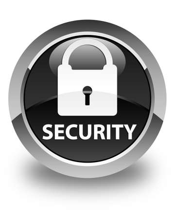 insecure: Security (padlock icon) glossy black round button Stock Photo