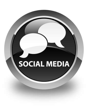 instant message: Social media (chat bubble icon) glossy black round button Stock Photo