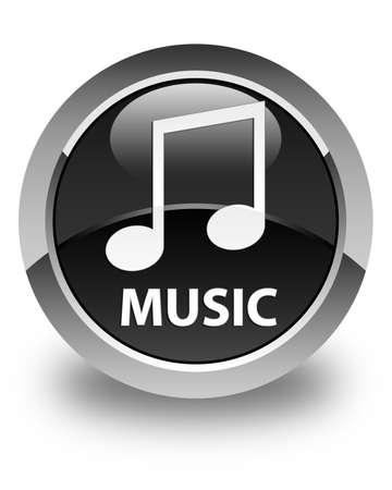 tune: Music (tune icon) glossy black round button