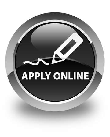 apply: Apply online (edit pen icon) glossy black round button Stock Photo