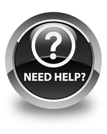 need help: Need help (question icon) glossy black round button Stock Photo