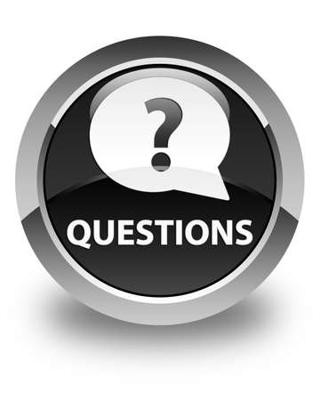 ask: Questions (bubble icon) glossy black round button Stock Photo