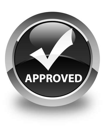 validate: Approved (validate icon) glossy black round button Stock Photo