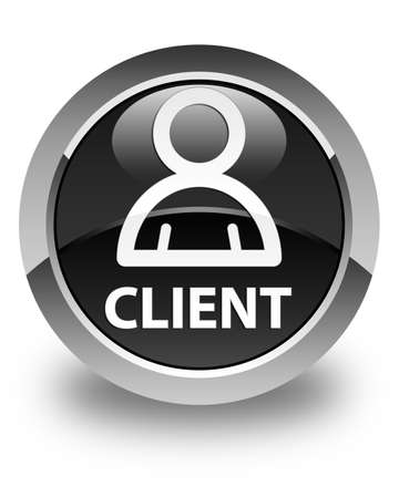 member: Client (member icon) glossy black round button