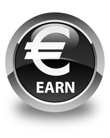 earn: Earn (euro sign) glossy black round button