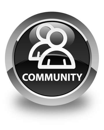 glossy button: Community (group icon) glossy black round button