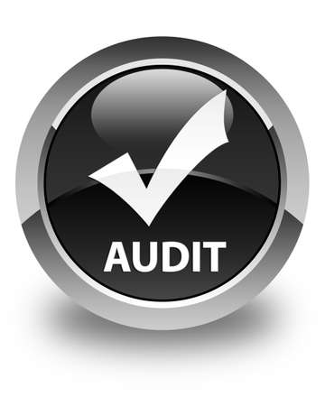 validate: Audit (validate icon) glossy black round button