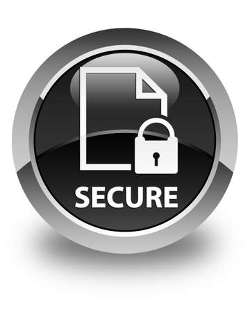 key hole shape: Secure (document page padlock icon) glossy black round button