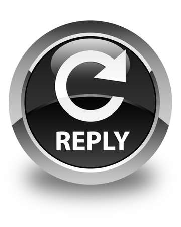 reply: Reply (rotate arrow icon) glossy black round button