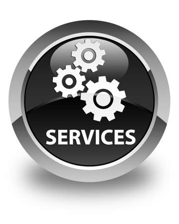 preference: Services (gears icon) glossy black round button Stock Photo