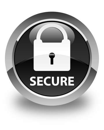 secure: Secure (padlock icon) glossy black round button