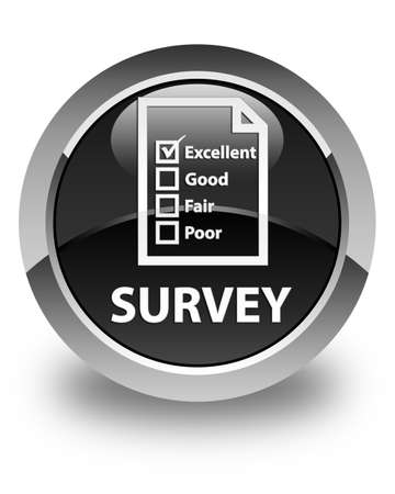 excellent service: Survey (questionnaire icon) glossy black round button Stock Photo