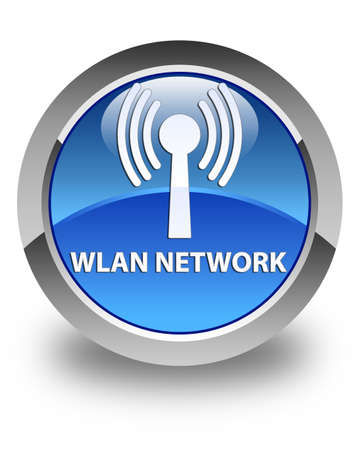 button glossy: Wlan network glossy blue round button Stock Photo