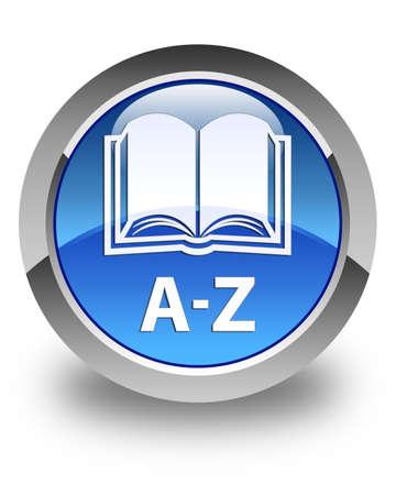 az: A-Z (book icon) glossy blue round button Stock Photo