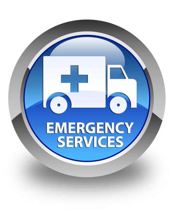 emergency services: Emergency services glossy blue round button Stock Photo