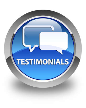 opinions: Testimonials glossy blue round button