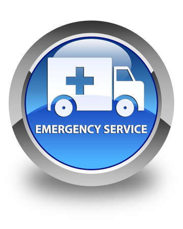 glossy button: Emergency service glossy blue round button