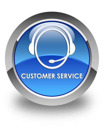 customer care: Customer service (customer care icon) glossy blue round button