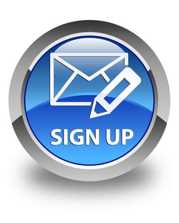 registry: Sign up (edit mail icon) glossy blue round button Stock Photo