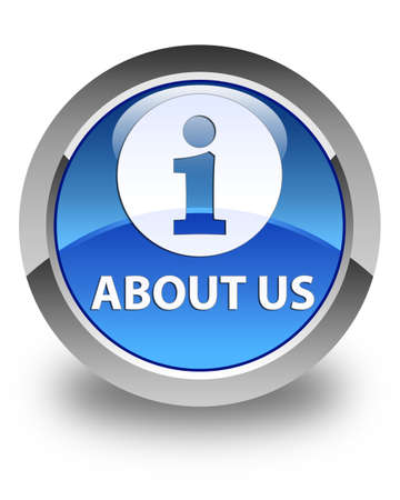 about us: About us glossy blue round button