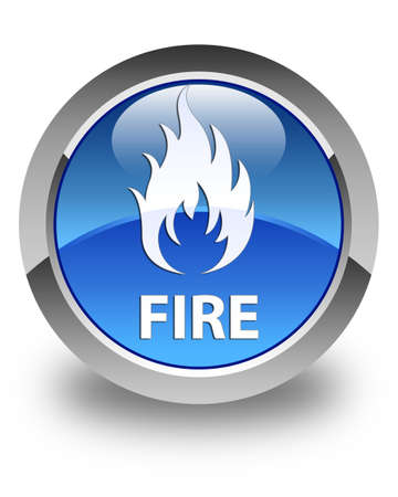 ominous: Fire glossy blue round button