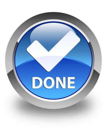 done: Done (validate icon) glossy blue round button