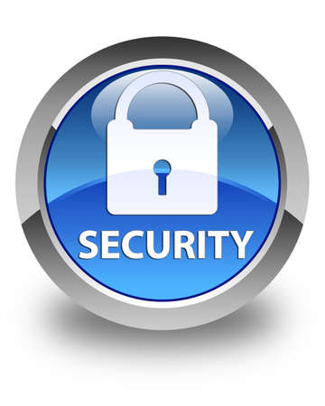 insecure: Security (padlock icon) glossy blue round button