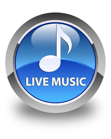 tunes: Live music glossy blue round button