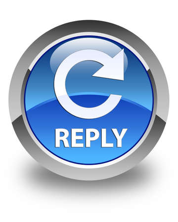 reply: Reply (rotate arrow icon) glossy blue round button