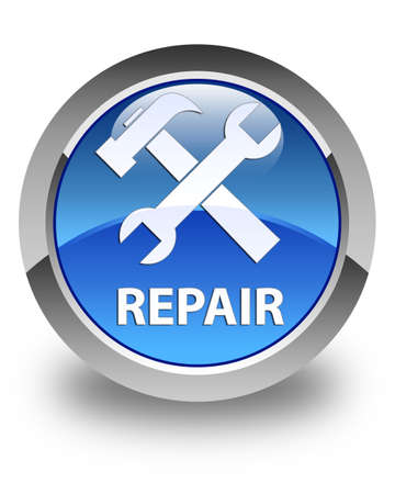 control tools: Repair (tools icon) glossy blue round button