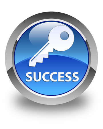 success key: Success (key icon) glossy blue round button