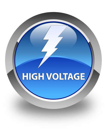 high voltage: High voltage (electricity icon) glossy blue round button