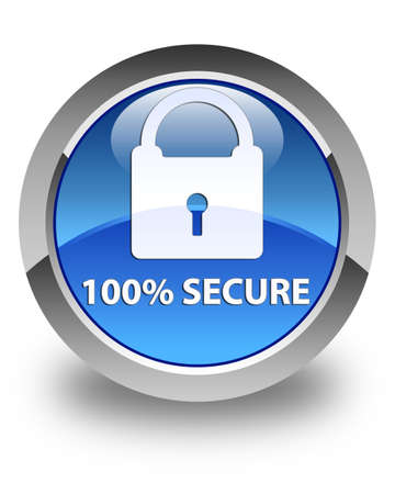 100% sécurisé bouton rond bleu brillant