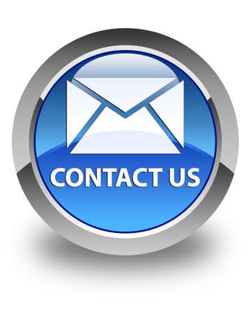 flysheet: Contact us (email icon) glossy blue round button Stock Photo