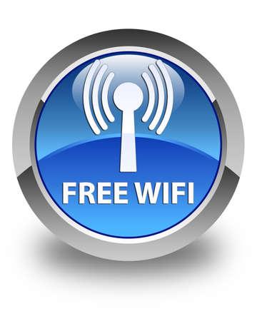 wlan: Free wifi (wlan network) glossy blue round button