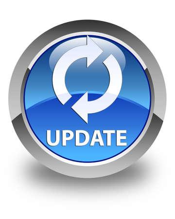 update: Update glossy blue round button Stock Photo