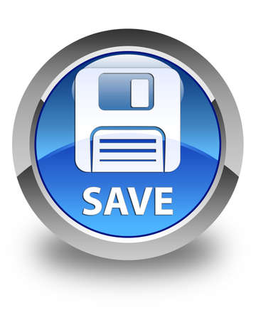 Floppy disk: Save (floppy disk icon) glossy blue round button