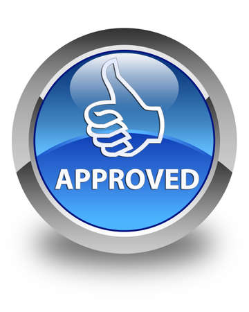 blue circle: Approved (thumbs up icon) glossy blue round button