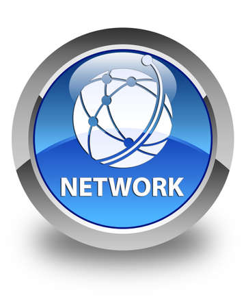 glossy button: Network (global network icon) glossy blue round button