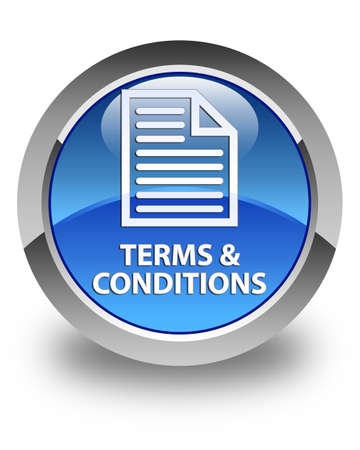 conditions: Terms and conditions (page icon) glossy blue round button Stock Photo