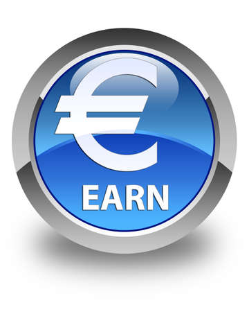 earn: Earn (euro sign) glossy blue round button
